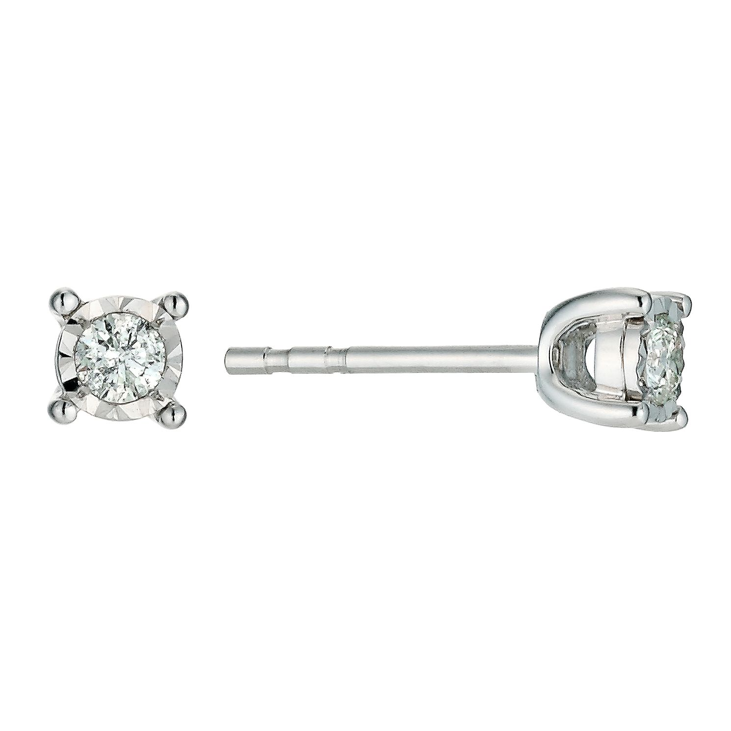 9ct White Gold 0.15ct Diamond illusion Setting Stud Earrings - Product number 9454403