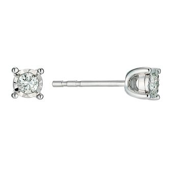 9ct White Gold 0.15 Point Diamond Stud Earrings - Product number 9454403