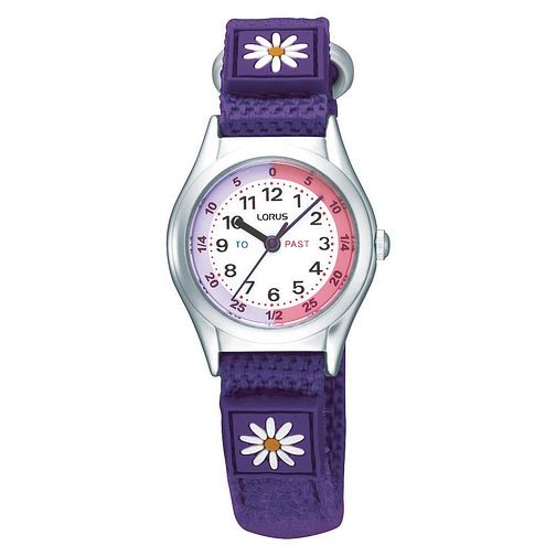 Lorus Children's Purple Flower Time Teach Canvas Strap Watch - Product number 9471898