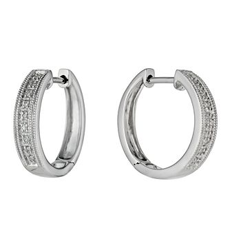 Sterling Silver Diamond Set Hoop Earrings - Product number 9486275