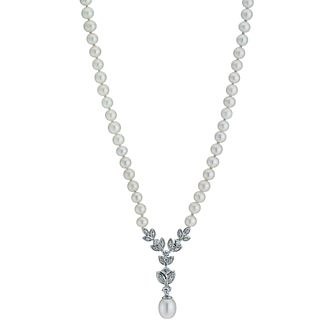 Sterling Silver Cubic Zirconia Pearl Floral Necklace - Product number 9524568