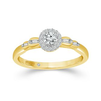 Emmy London 9ct Yellow Gold Halo 0.25ct Diamond Ring - Product number 9526145