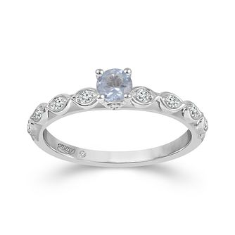 Emmy London 18ct White Gold Aquamarine 0.11ct Diamond Ring - Product number 9526463