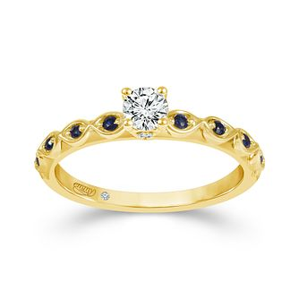 Emmy London 18ct Yellow Gold Sapphire 0.25ct Diamond Ring - Product number 9528792
