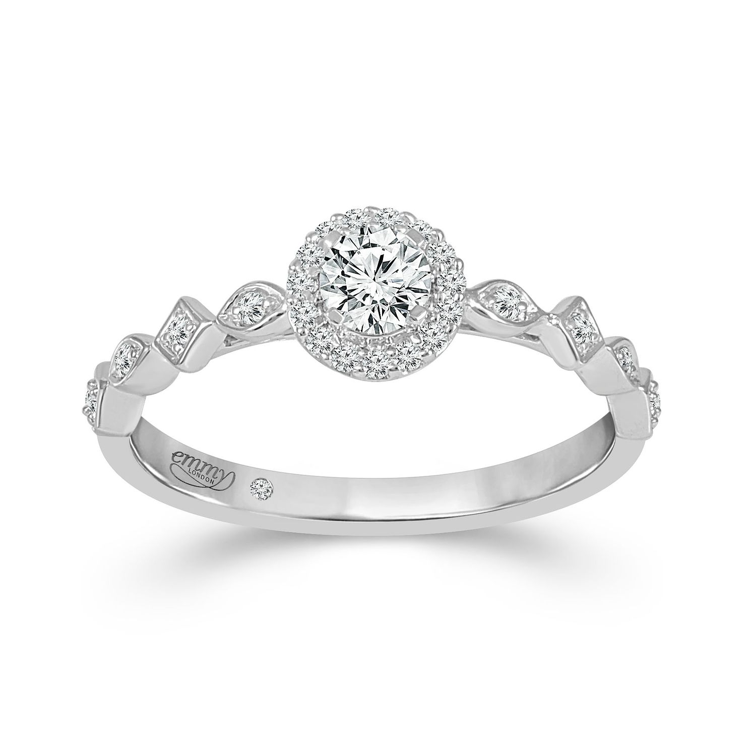 Emmy London Platinum Halo 0.33ct Total Diamond Ring - Product number 9529179