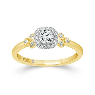 Emmy London 9ct Yellow Gold Halo 0.33ct Diamond Ring - Product number 9529896