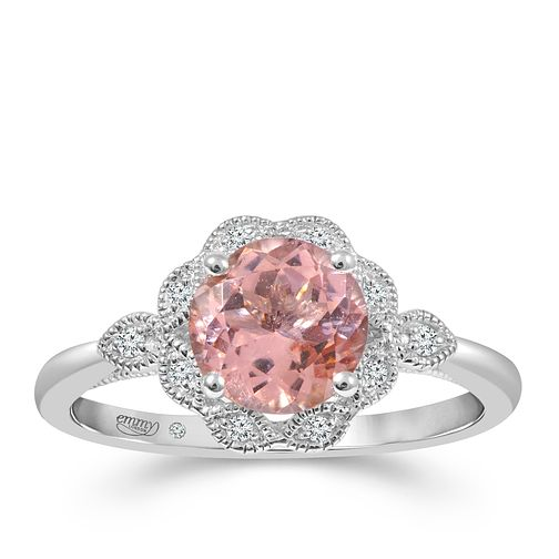 Emmy London 18ct White Gold Morganite 0.05ct Diamond Ring - Product number 9530185