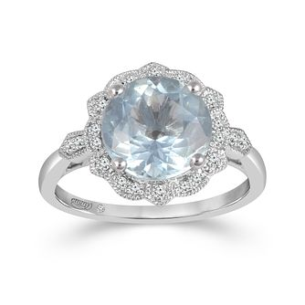 Emmy London 18ct White Gold Aquamarine 0.10ct Diamond Ring - Product number 9530886