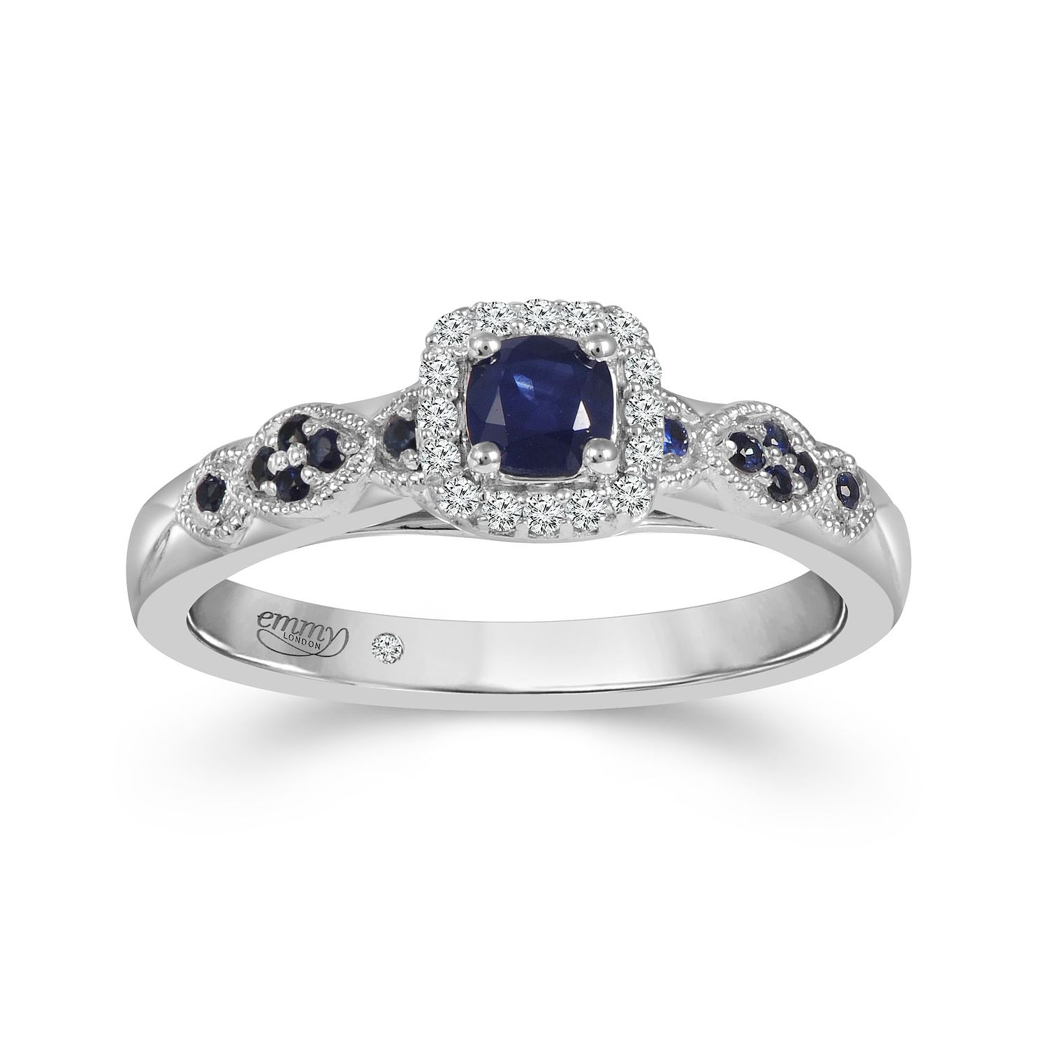 Emmy London 18ct White Gold Sapphire Diamond Ring - Product number 9531424