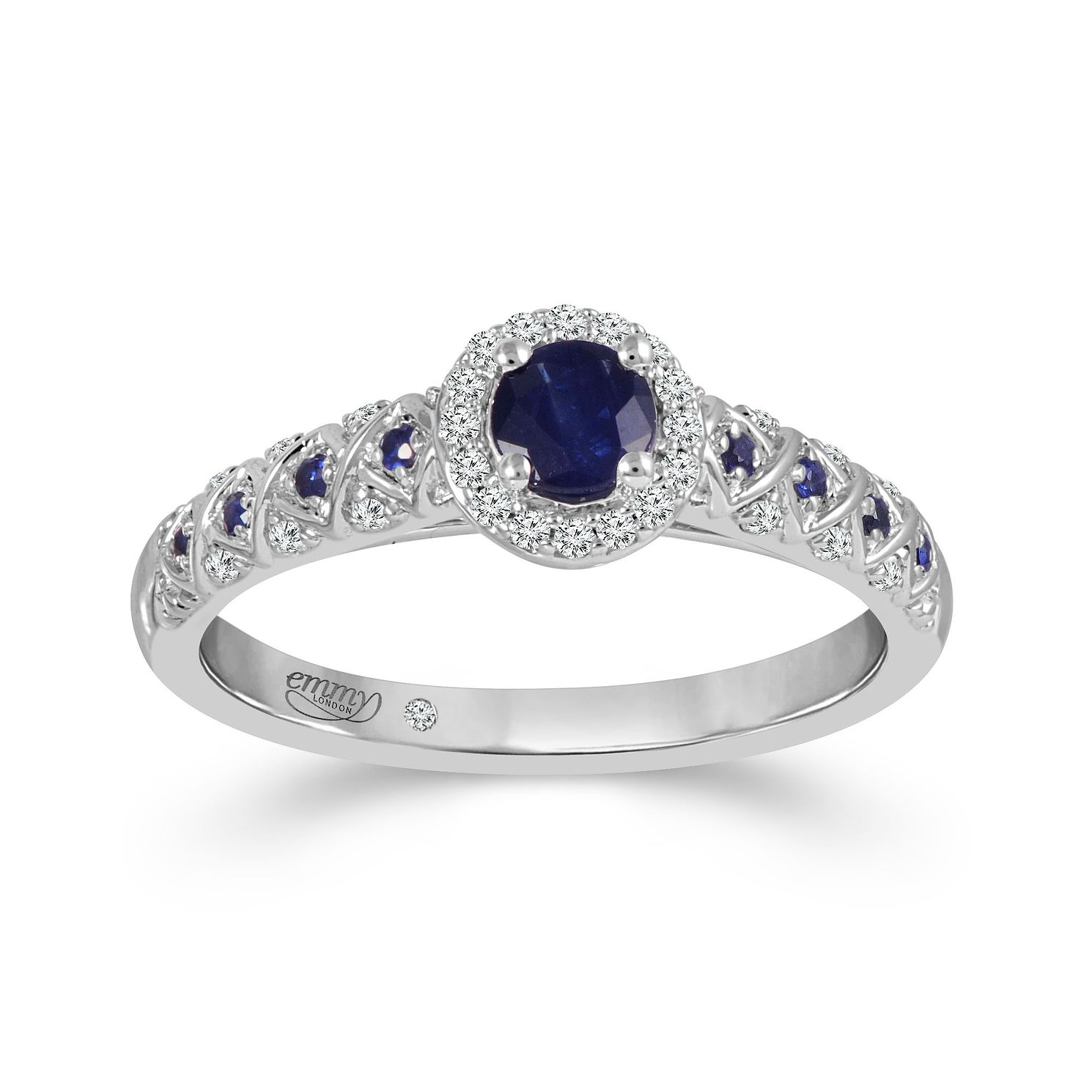 Emmy London 18ct White Gold Sapphire 0.08ct Diamond Ring - Product number 9532536