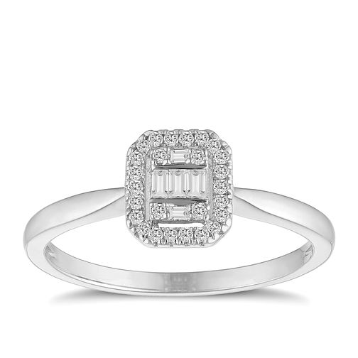 9ct White Gold Baguette Cluster 0.15ct Diamond Ring - Product number 9537341