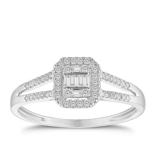 081b33b0e 9ct White Gold Split Shoulder 0.20ct Diamond Ring - Product number 9539646
