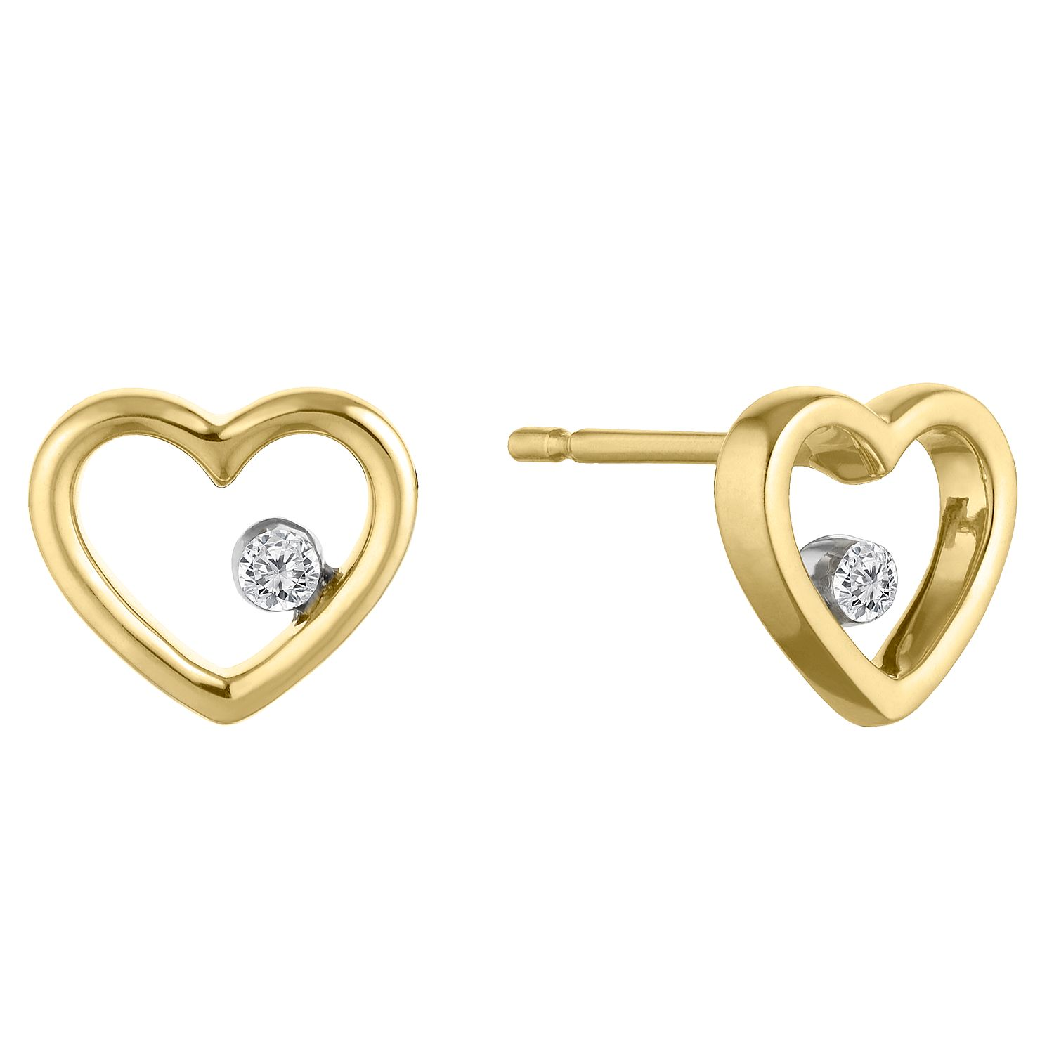 9ct Yellow Gold Heart Earrings with 0.04ct Diamond - Product number 9539824