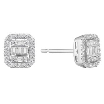 9ct White Gold Baguette Cluster 0.18ct Diamond Earrings - Product number 9539859