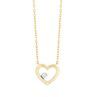 9ct Yellow Gold Heart Pendant with 0.04ct diamond - Product number 9539883