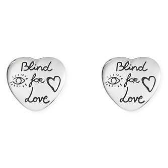 4fca53cb771 Gucci Silver Blind for Love Heart Earrings - Product number 9540598
