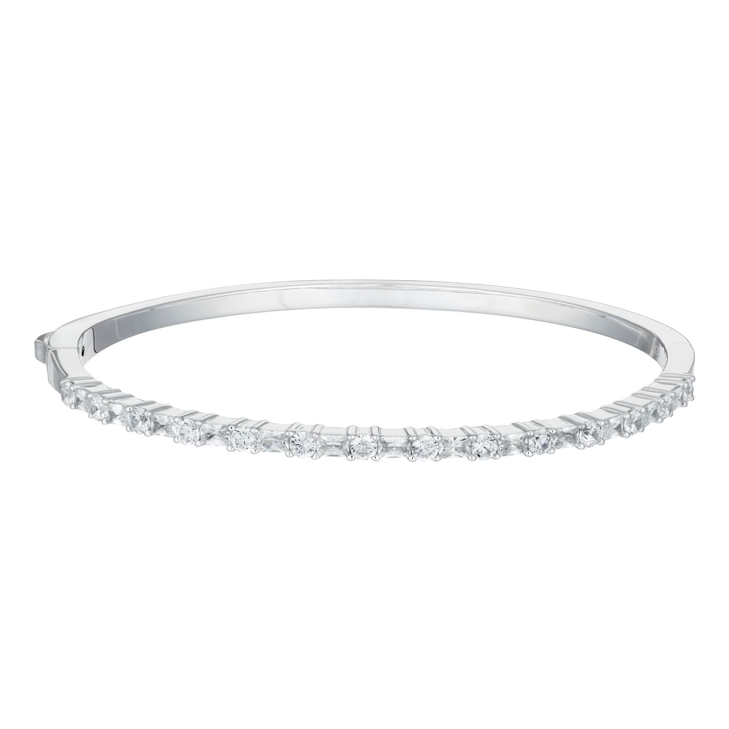 Ladies' Silver & Cubic Zirconia Half Eternity Bangle - Product number 9540725