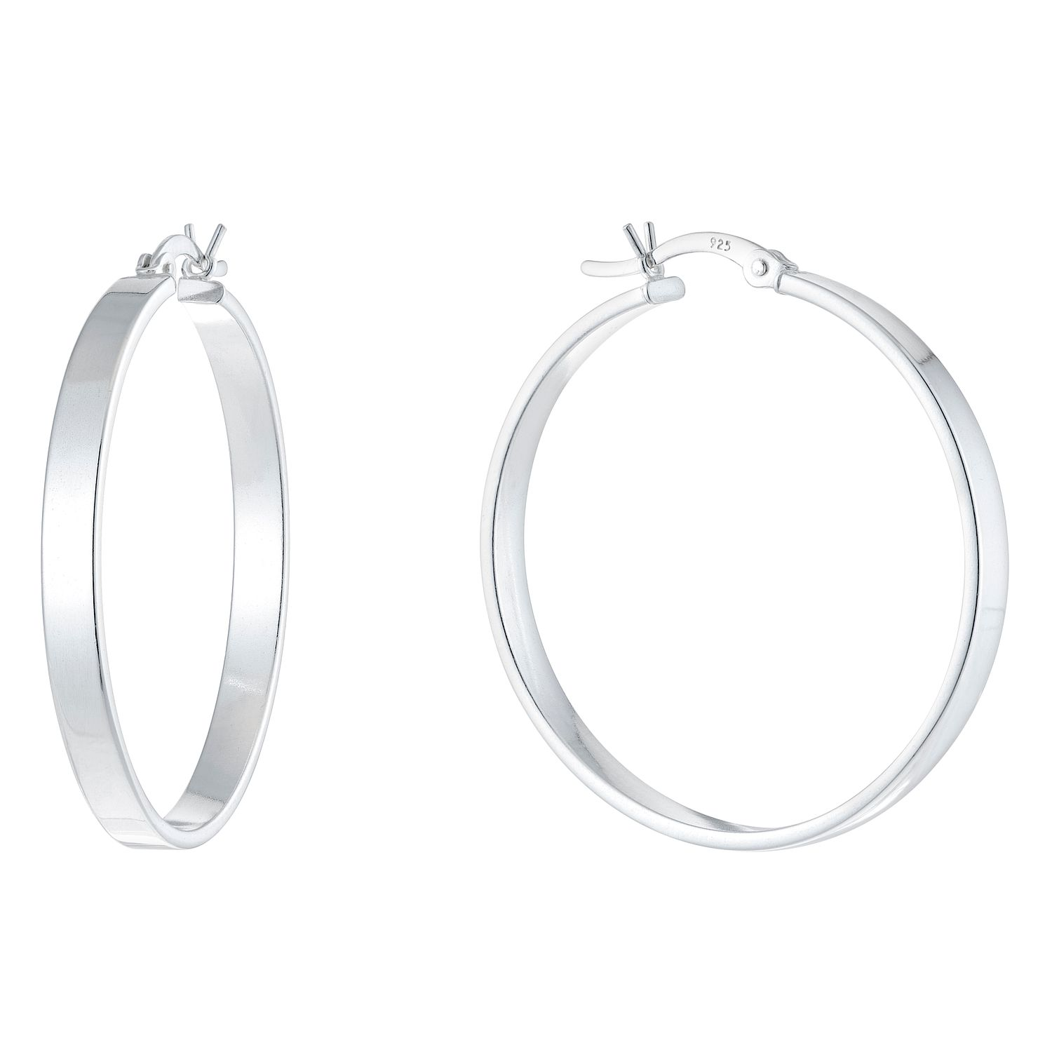 Ladies' Silver 32mm Wide Hoop Earrings - Product number 9541683