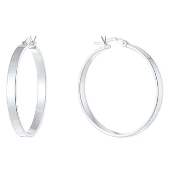 Ladies' Silver 35mm Wide Hoop Earrings - Product number 9541683