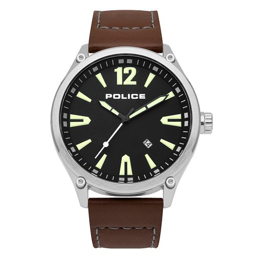 Police Smart Style Men's Brown Leather Strap Watch - Product number 9547118