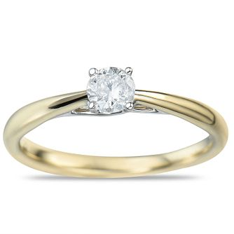 9ct Yellow Gold 0.15ct Diamond Solitaire Ring - Product number 9549366