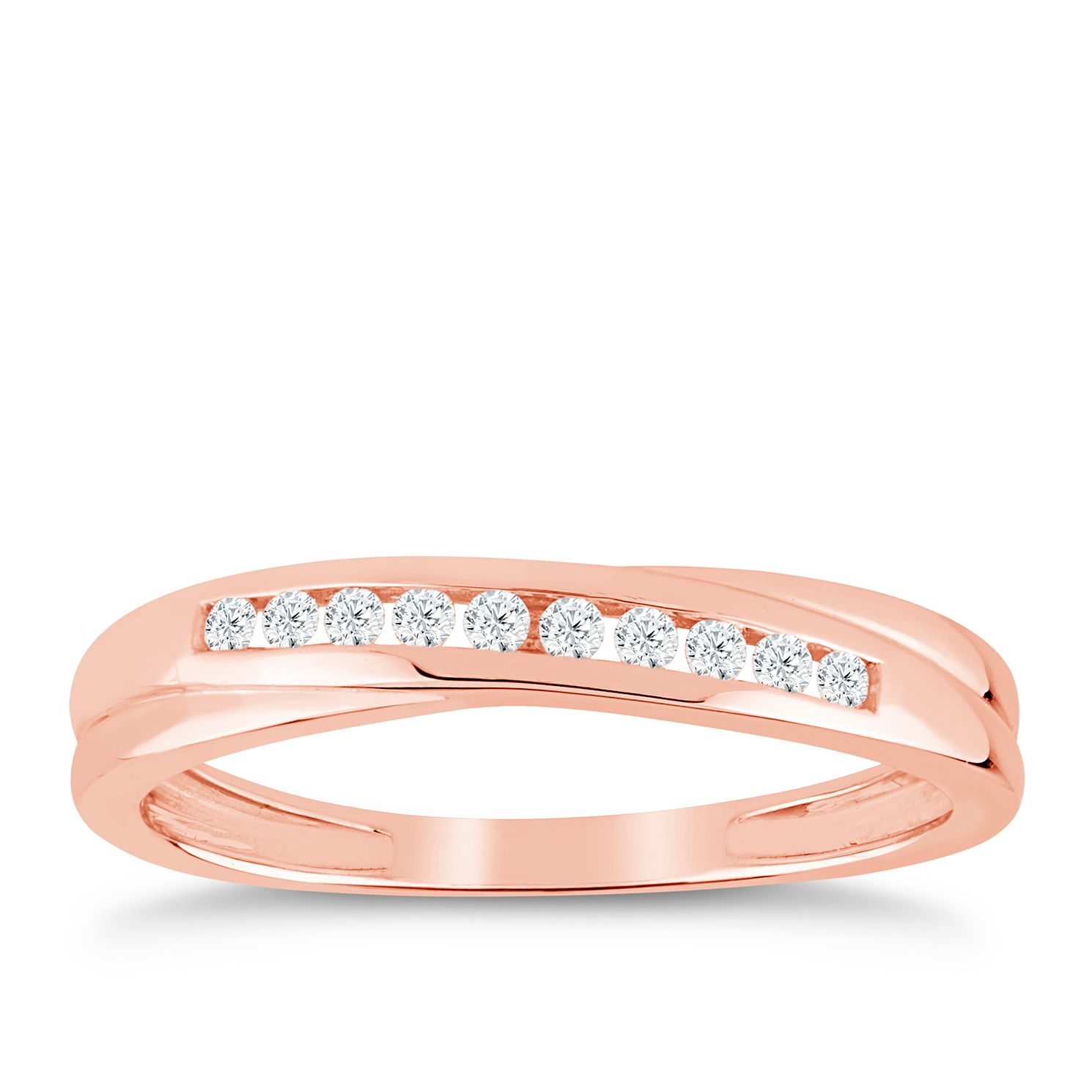 9ct Rose Gold 1/10ct Diamond Crossover Eternity Ring - Product number 9553959