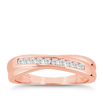 9ct Rose Gold 0.15ct Diamond Crossover Eternity Ring - Product number 9554688