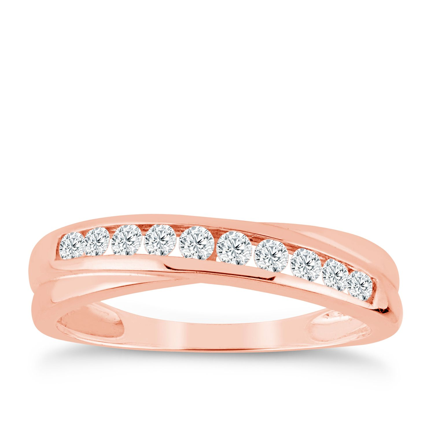 9ct Rose Gold 1/4ct Diamond Crossover Eternity Ring - Product number 9555110