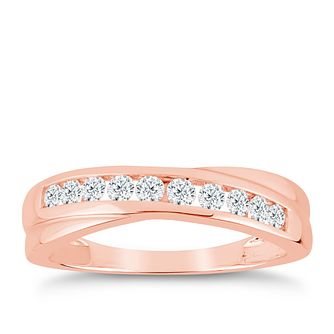 9ct Rose Gold 1/3ct Diamond Crossover Eternity Ring - Product number 9556508