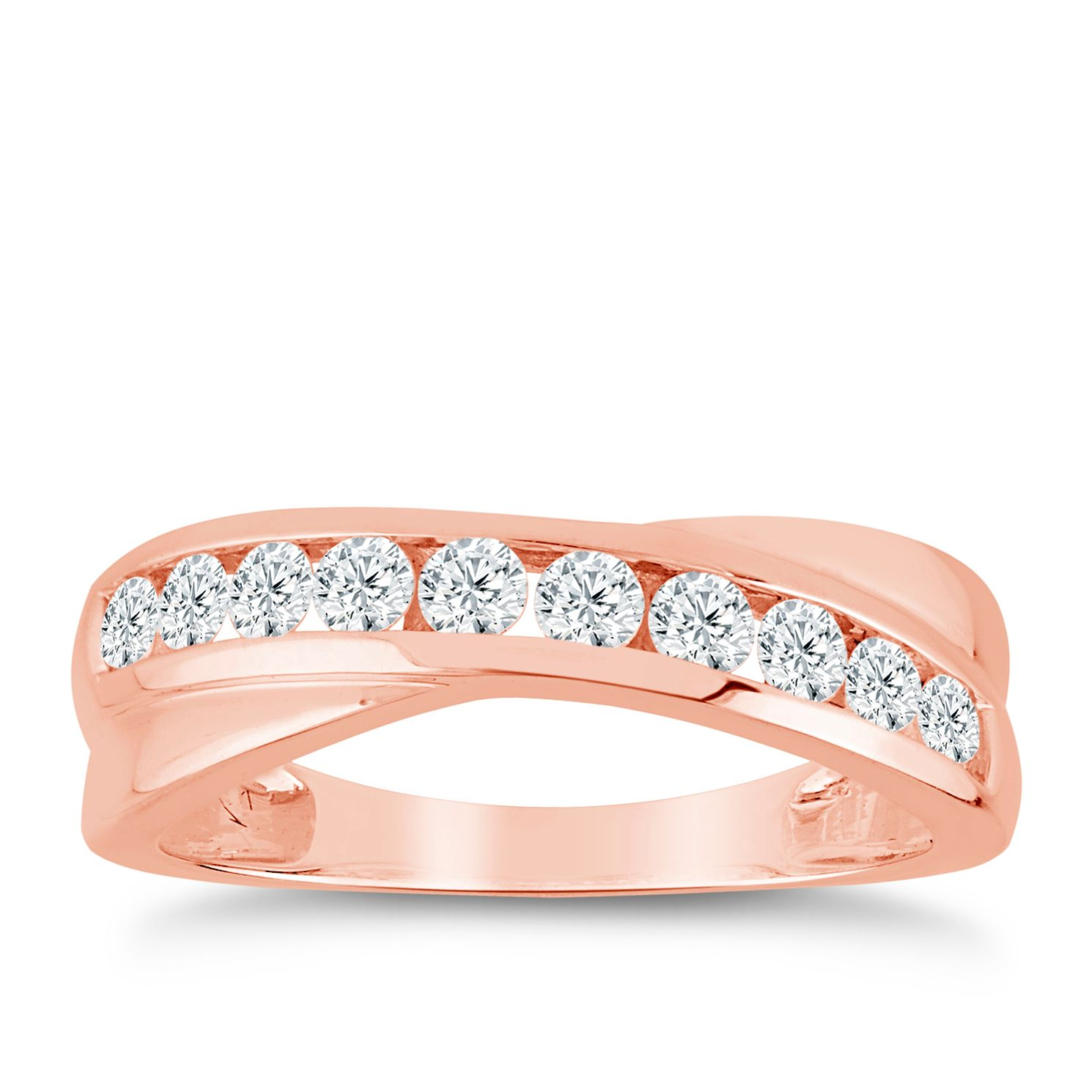 9ct Rose Gold 1/2ct Diamond Crossover Eternity Ring - Product number 9556885