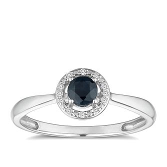 Silver 925 Rhodium Plated Sapphire & 0.03ct Diamond Ring - Product number 9557377