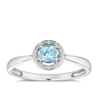 Silver 925 Rhodium Plated Aquamarine & 0.03ct Diamond Ring - Product number 9557652