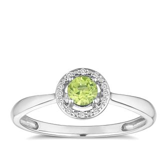 Silver 925 Rhodium Plated Peridot & 0.03ct Diamond Ring - Product number 9557857