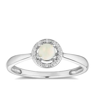 Silver 925 Rhodium Plated Opal & 0.03ct Diamond Ring - Product number 9557997