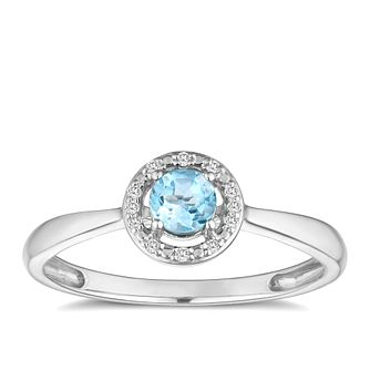 Sterling Silver Rhodium Plated Topaz & Diamond Ring - Product number 9558306