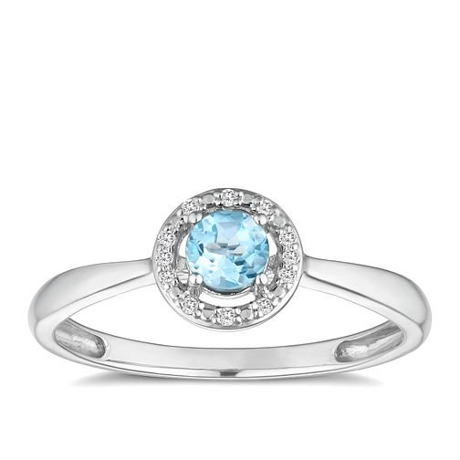 Silver 925 Rhodium Plated Topaz & 0.03ct Diamond Ring - Product number 9558306