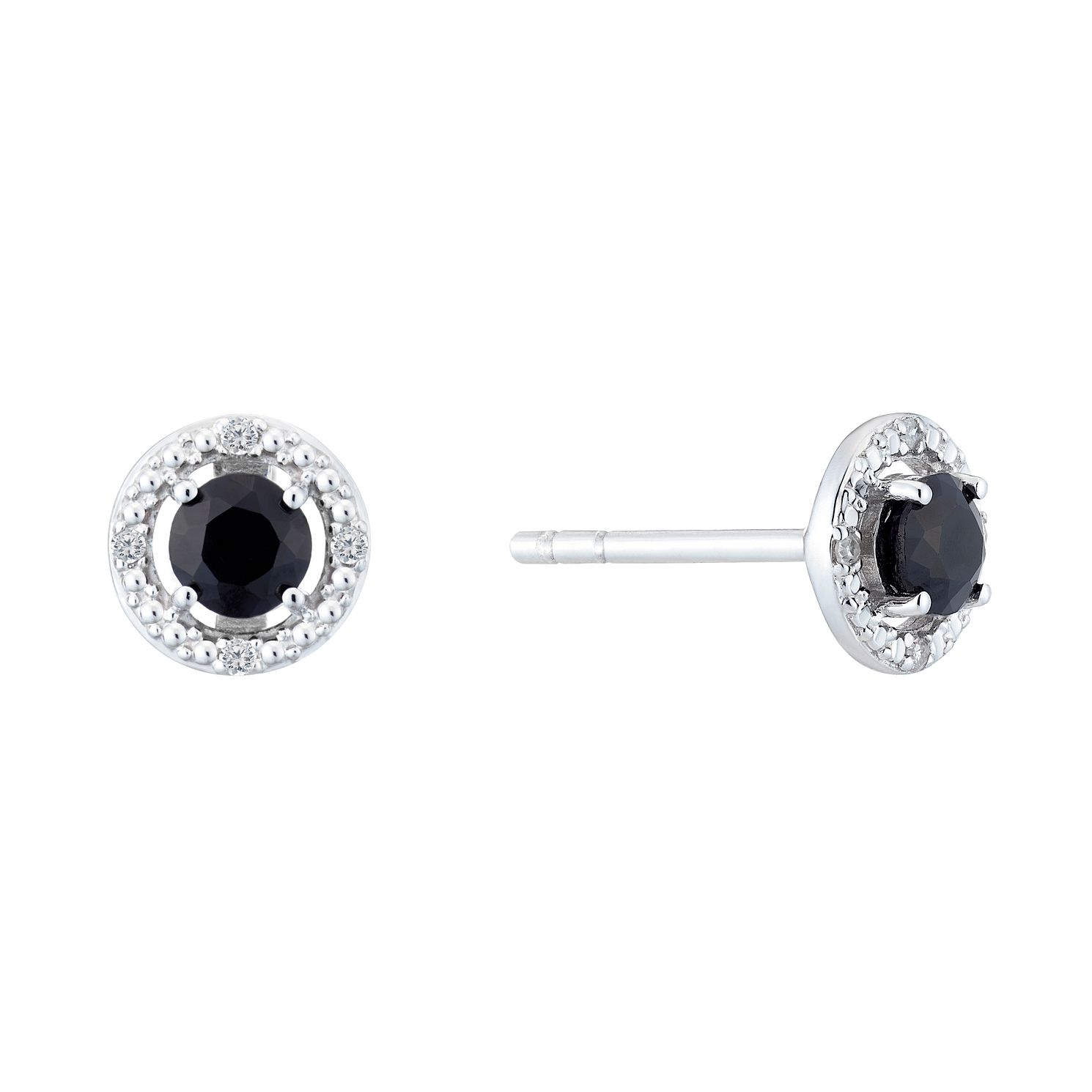 Silver Rhodium Plated Sapphire & 0.02ct Diamond Earrings - Product number 9558500