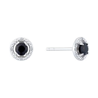 Sterling Silver & Rhodium Sapphire & Diamond Earrings - Product number 9558500