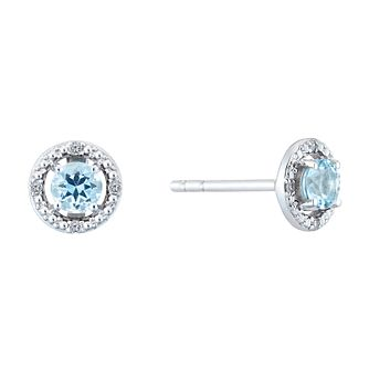 Sterling Silver & Rhodium Aquamarine & Diamond Earrings - Product number 9558543