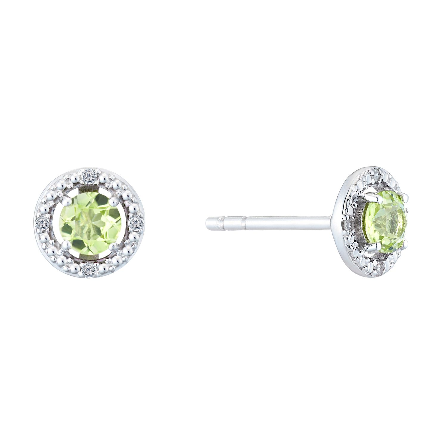 Silver Rhodium Plated Peridot & 0.02ct Diamond Earrings - Product number 9558608