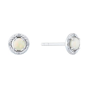 Silver Rhodium Plated Opal & 0.02ct Diamond Earrings - Product number 9558640