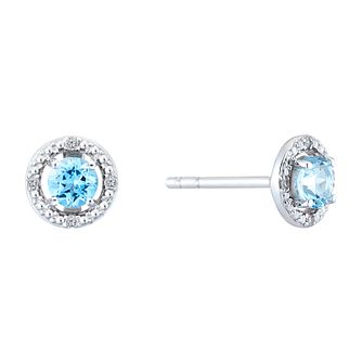 Sterling Silver & Rhodium Topaz & Diamond Earrings - Product number 9558675