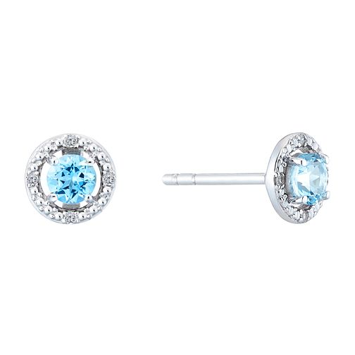 Silver Rhodium Plated Topaz & 0.02ct Diamond Earrings - Product number 9558675
