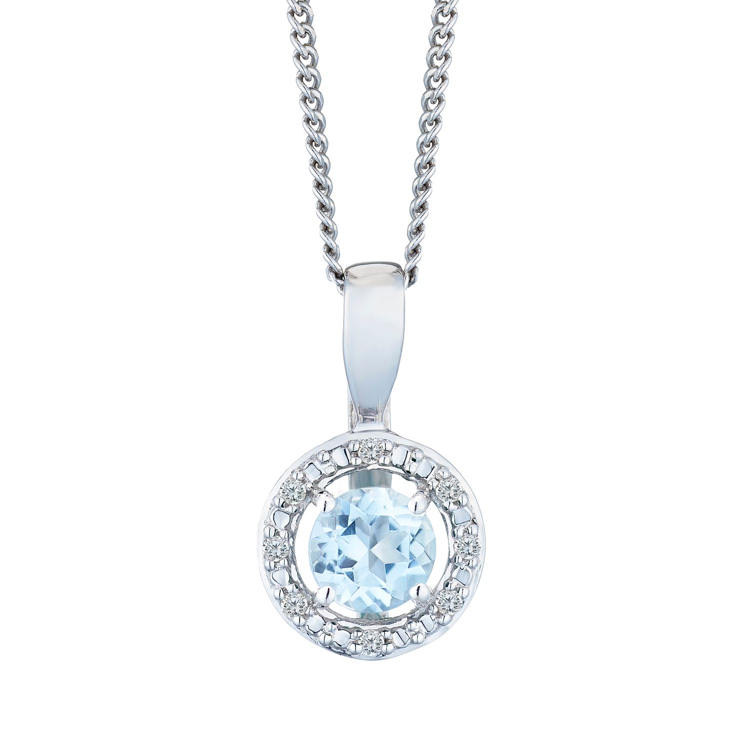 Silver 925 Rhodium Aquamarine & 0.02ct Diamond Pendant - Product number 9558683