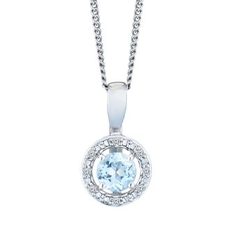 Sterling Silver & Rhodium Aquamarine & Diamond Pendant - Product number 9558683