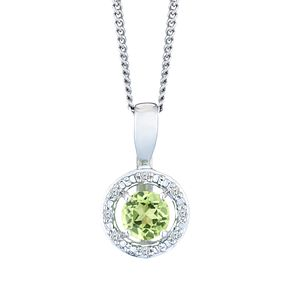 Silver 925 Rhodium Plated Peridot & 0.02ct Diamond Pendant - Product number 9558691