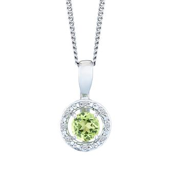 Sterling Silver & Rhodium Peridot & Diamond Pendant - Product number 9558691