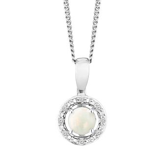 Silver 925 Rhodium Plated Opal & 0.02ct Diamond Pendant - Product number 9558705