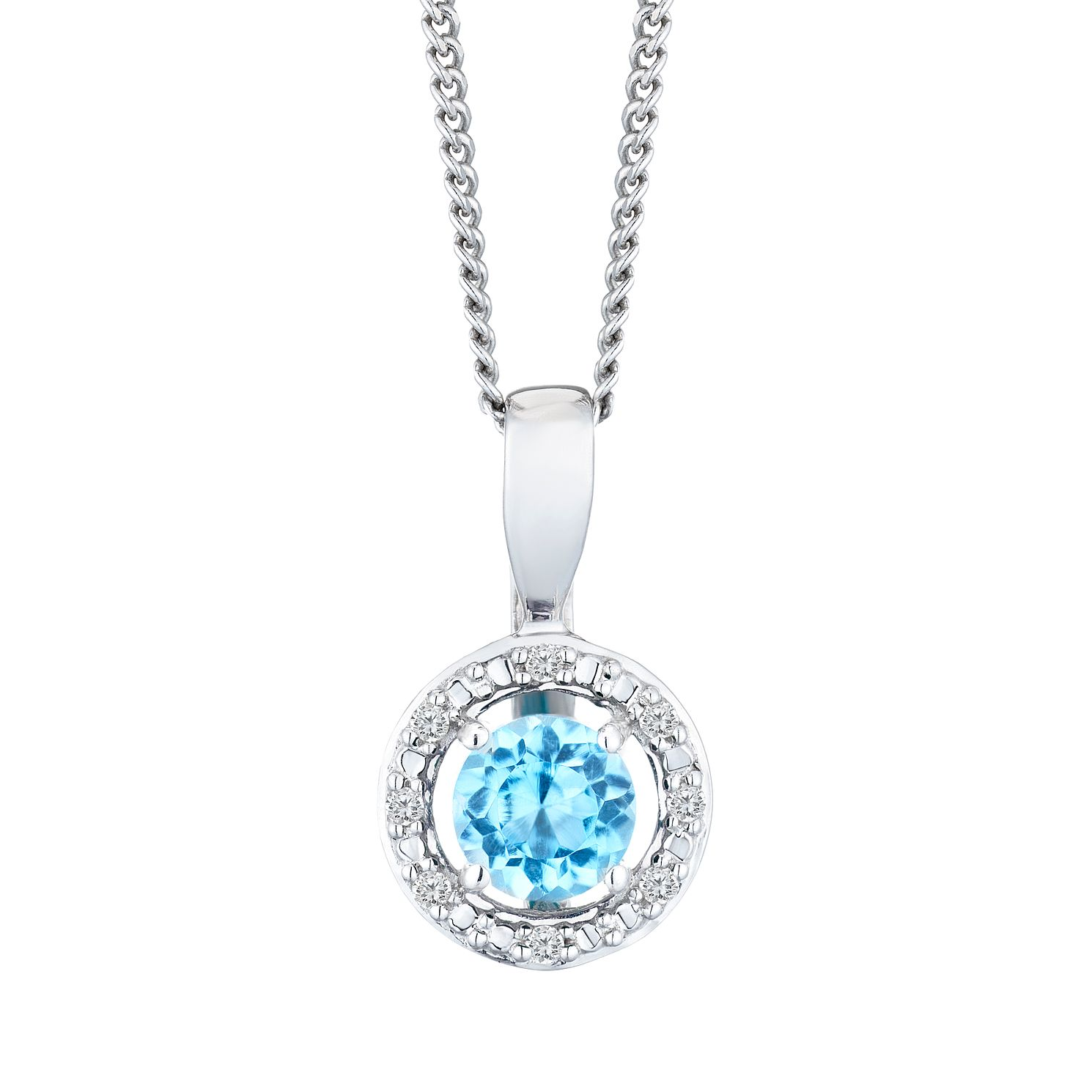 Silver 925 Rhodium Plated Topaz & 0.02ct Diamond Pendant - Product number 9558713