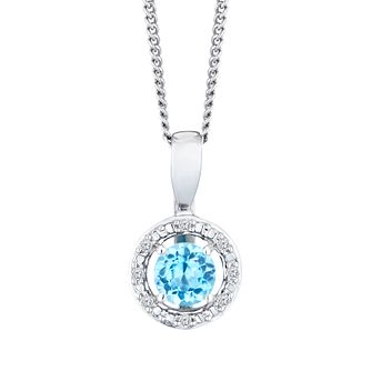 Sterling Silver & Rhodium Plated Topaz & Diamond Pendant - Product number 9558713